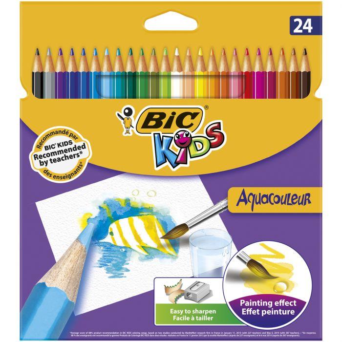 BIC Kids Aquacouleur Crayons de Couleur Aquarellables pour Effet Peinture - Coloris Assortis