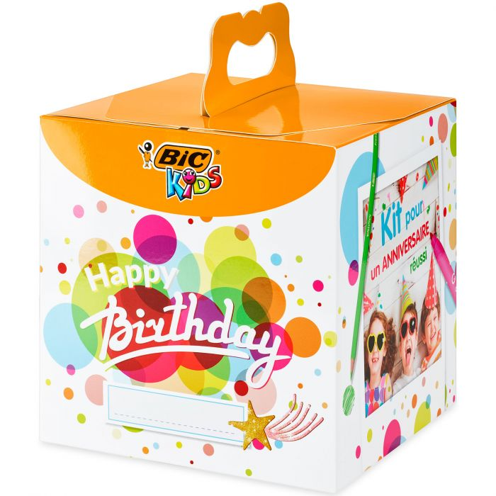 BIC Kids Kit Anniversaire - 12Crayons de Couleurs/12 Feutres de Coloriage/12 Pastels à l'Huile/6 Tubes de Colle Pailletée/30 Stickers et 24 Cartes Postales à Colorier