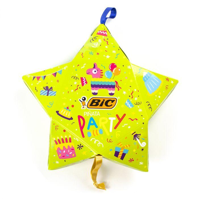 BIC Kids Mini Piñata - 24 feutres + 2 tubes de colles décorés + 6 tubes de colle pailletée + 10 stickers + 1 mini pinata