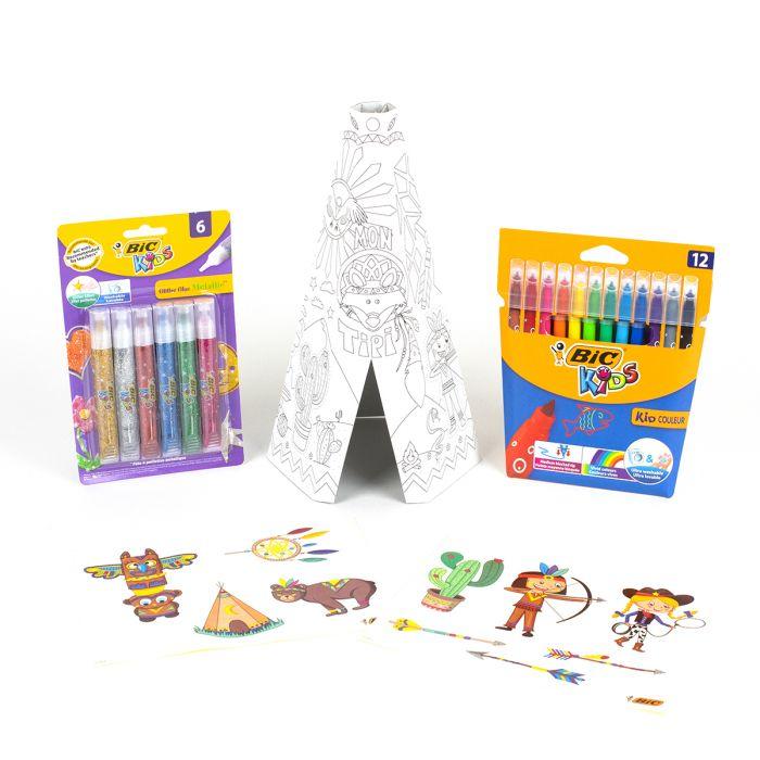 BIC Kids Mon Tipi à construire et à colorier - 12 feutres + 6 tubes de colle pailletée + 10 stickers + un Tipi