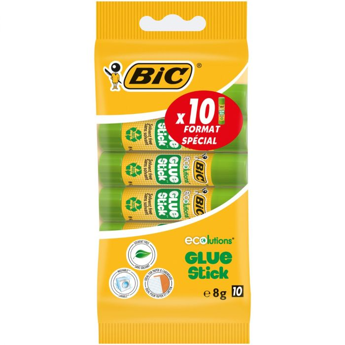 BIC ECOlutions Bâtons de Colle Blanche - 8 g, Blister de 10