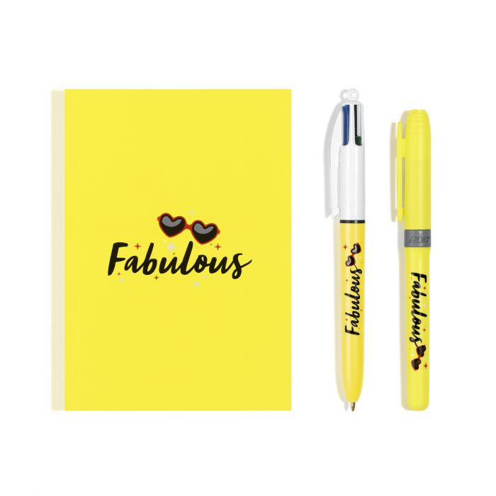 BIC My Message Kit Fabulous - Kit de Papeterie avec 1 Stylo-bille BIC 4 couleurs/1 Surligneur BIC Highlighter Grip Jaune/1 Carnet de Notes A6 Blanc, Lot de 3