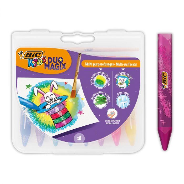 BIC Kids Duo Magix Crayons de Couleur Aquarellables - Couleurs Assorties