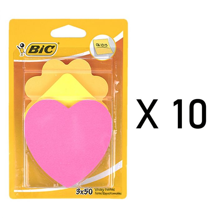 Lot de 30 BIC Sticky Notes - 50 notes repositionnables - 3 formes différentes, 3 coloris