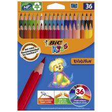 BIC Kids Evolution ECOlutions Crayons de Couleur - Coloris Assortis