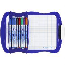 BIC Velleda Ardoise Ecolier Double Face (21x31 cm) Effaçable à Sec avec 8 Feutres Effaçables à Sec et Effacette - Bleue, Lot de 1