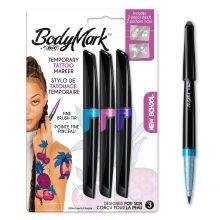 BodyMark by BIC Stylos de Tatouage Temporaire et Pochoirs - New School - 3 stylos et 2 pochoirs