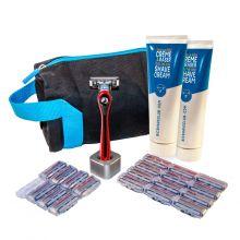 BIC Shave Club 5 Neo - Le kit de rasage complet pour 6 mois de rasage  - 1 manche rouge + 20 recharges de 5 lames + 2 crèmes à raser de 125ml + 1 porte rasoir + 1 trousse de toilette