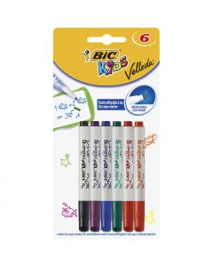 BIC Kids Mini Velleda Feutres Effaçables à Sec Pointe Conique Fine - Couleurs Assorties