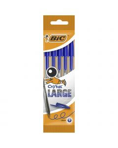 BIC Cristal Large Ballpoint Pens Wide Point (1.6 mm) - Blue, Pack of 5
