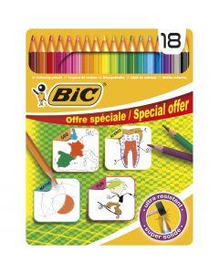 BIC For School Crayons de Couleur - Boîte Métallique de 18
