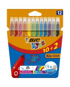 BIC Kids Kid Couleur Feutres de Coloriage à Pointe Moyenne - Couleurs Assorties