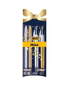 BIC Cristal Shine et BIC 4 Couleurs Shine Stylos-Bille Noël Stylos-Bille Pointe Moyenne (1