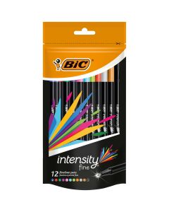 BIC Intensity Stylos Feutres Pointe Fine (0,8 mm) - Couleurs Assorties, Pochette Refermable de 12