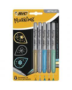 BIC Marking Marqueurs Permanents à Pointe Moyenne- Couleurs Métalliques Assorties
