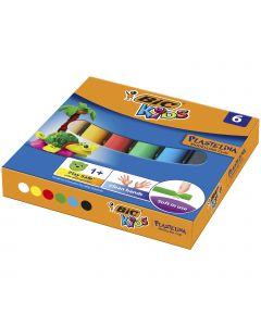 BIC Kids Plasticine - Pâte à modeler - 6 couleurs - lot de 6 rouleaux
