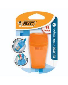 BIC Ellipse Taille-Crayons 2 Trous avec Grand Réservoir - Blister de 1