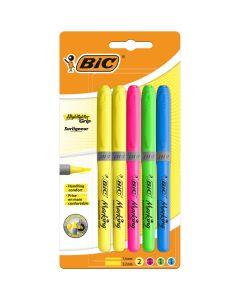 BIC Highlighter Grip Surligneurs Couleurs Fluo Assorties - 4 Standards et 1 Décoré, Blister Format Spécial de 5