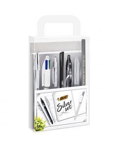 BIC Silver Set- 1Carnet de Notes/3Stylos-Bille/1Stylo Gel/1Crayon Graphite HB/1Feutre/1Porte-Mines