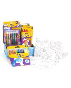 BIC Kids Mallette de Coloriage thème voyage - 12 Pastels à l'Huile/12 Feutres Magiques/6 Tubes de Colle Pailletée/1 Poster à Colorier