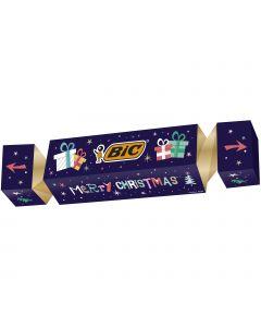 BIC Cracker de Noël - Kit Coffret Cadeau de Papeterie avec 43 Stylos-Bille/3Marqueurs/10 Autocollants