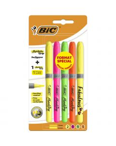 BIC Highlighter Grip Surligneurs Couleurs Fluo Assorties - 4 Standards et 1 Décoré