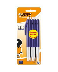 BIC M10 Original Stylos-Bille Rétractables Pointe Moyenne (1,0 mm) - Bleu, Blister de 5