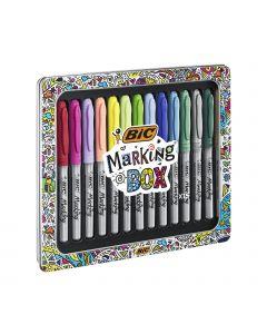 BIC Marking Box Marqueurs Indélébiles Pointe Ogive Moyenne - Couleurs Assorties, Boîte Cadeau Métal de 15