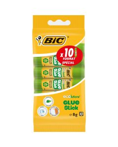 BIC ECOlutions White Glue Sticks - 8 g, Blister of 10