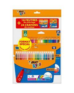BIC Kids Evolution crayons de couleurs boîte de 24 et BIC Kids Kid Couleur Feutre boîte de 18