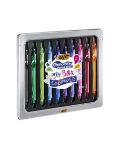 BIC Gel-ocity Quick Dry My Box of Colours Stylos Gel Pointe Moyenne (0,7 mm) - Couleurs Assorties, Boîte Cadeau Métal de 10