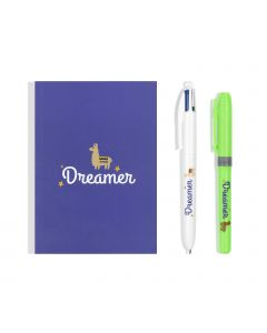 BIC My Message Kit Dreamer - Kit de Papeterie avec 1 Stylo-Bille BIC 4 couleurs/1 Surligneur BIC Highlighter Grip Vert/1 Carnet de Notes A6 Blanc, Lot de 3