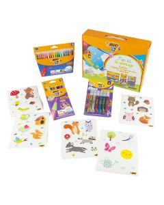 BIC Kids Mon kit de coloriage - 25 stickers + 18 feutres + 12 crayons de couleurs + 6 tubes de colle pailletée