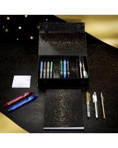 BIC My Surprise Box - Coffret Cadeau de 14Produits d'Écriture, 4Stylos-Bille/5Feutres Métallisés/ 5Stylos Gel, 1Bloc de Notes Repositionnables et 1Carnet de Notes A5 Blanc