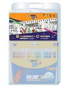 BIC Kids - Kit Banderole de noël  à Colorier - 1 banderole + 18 feutre BIC Kids Kid Couleur