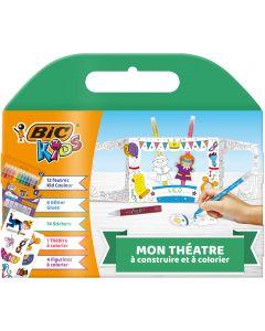 BIC Kids Mon Théâtre - 12Feutres de Coloriage/6Colles Pailletées/14Autocollants