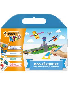 BIC Kids Mon Aéroport - Kit de 12 Feutres de Coloriage BIC Kids Kid Couleur/14 Autocollants/1 Aéroport