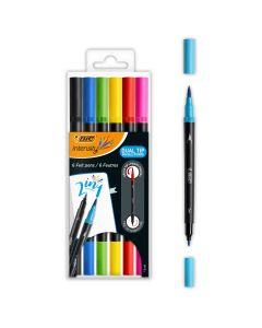 BIC Intensity Dual Tip Feutres d'Écriture Pointe Fine + Pinceau - Couleurs Assorties