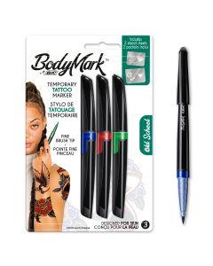 BodyMark by BIC Stylos de Tatouage Temporaire et Pochoirs - Old School - 3 stylos + 2 pochoirs
