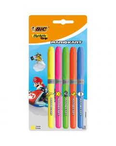 BIC Mario Kart Highlighter Grip Decor Surligneurs Pointe Biseautée - Couleurs Assorties