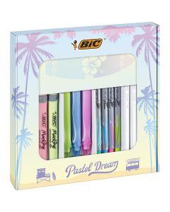 BIC Pastel Dream Kit - 3 Stylos Gel/4 Feutres d'Écriture/4 Surligneurs Pastel/4 Stylos-Bille/1 Bloc-Notes - Coffret Cadeau de16