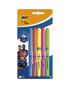 BIC FFF® Highlighter Grip Decor Surligneurs Pointe Biseautée - Couleurs Assorties