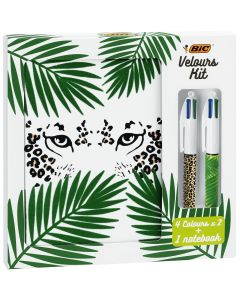 BIC Velours Kit - BIC 4 Couleurs Stylos-Bille (x2) Jungle et Léopard/1 Carnet de Notes A5 Blanc