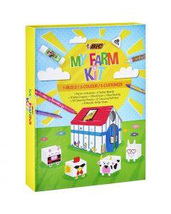 BIC Kids Kit de Coloriage - 12 Stylos Feutres/12 Craies de Coloriage/12 Crayons de Couleur/6 Colles Pailletées/1 Gomme/1 Bâton de Colle/Autocollants/Animaux et Ferme en Papier