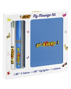 BIC My Message Kit Be a Hero - Kit de Papeterie avec 1 Stylo-Bille BIC 4 Couleurs/1 Surligneur BIC Highlighter Grip Bleu/1 Carnet de Notes A6 Blanc