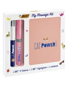 BIC My Message Kit Catpower - Kit de Papeterie avec 1 Stylo-Bille BIC 4 Couleurs/1 Surligneur BIC Highlighter Grip Pastel Rose/1 Carnet de Notes A6 Blanc