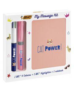 BIC My Message Kit Catpower - Kit de Papeterie avec 1 Stylo-Bille BIC 4Couleurs/1 Surligneur BIC Highlighter Grip Pastel Rose/1Carnet de Notes A6 Blanc