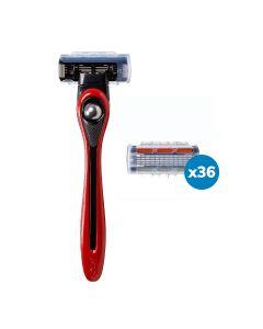 BIC Shave Club 5 Neo - 1 an de rasage - 1 manche rouge + 36 recharges de 5 lames