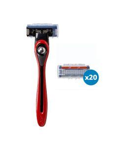 BIC Shave Club 5 Neo - 6 mois de rasage - 1 manche rouge + 20 recharges de 5 lames