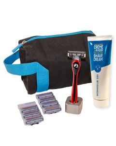 BIC Shave Club 5 Neo - Le kit de rasage complet à offrir - 1 manche rouge + 8 recharges de 5 lames + 1 crème à raser de 125ml + 1 porte rasoir + 1 trousse de toilette + 1 Boîte cadeau